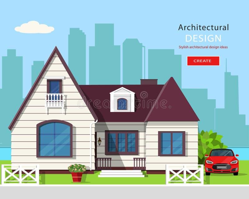 Современный графический архитектурный дизайн Красочный комплект: дом, автомобиль, двор, цветки и деревья иллюстрация вектора