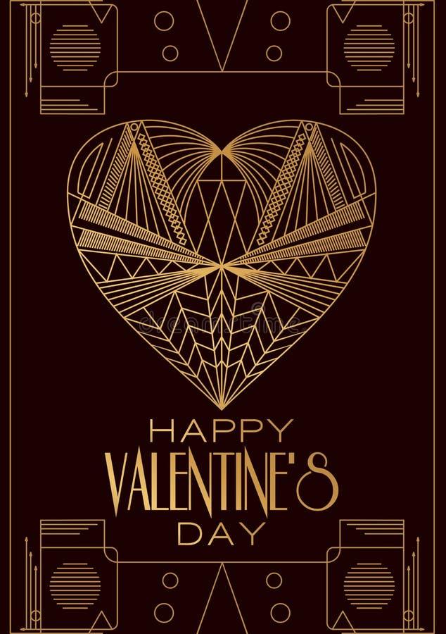 Современный день валентинок карточки Изображение вектора в классическом стиле Арт Деко вымачивает иллюстрация вектора
