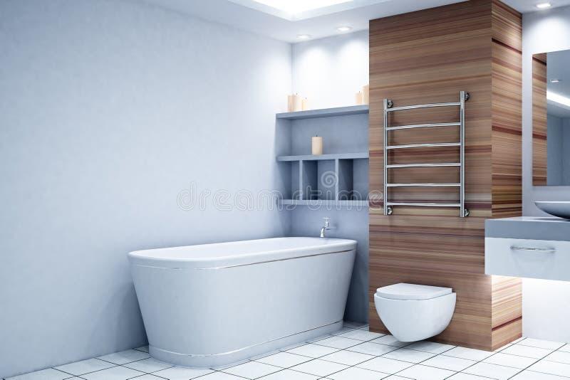 Современный деревянный интерьер ванной комнаты иллюстрация вектора