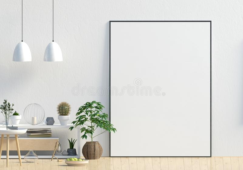 Современный дизайн интерьера в скандинавском стиле с credenza mock иллюстрация вектора