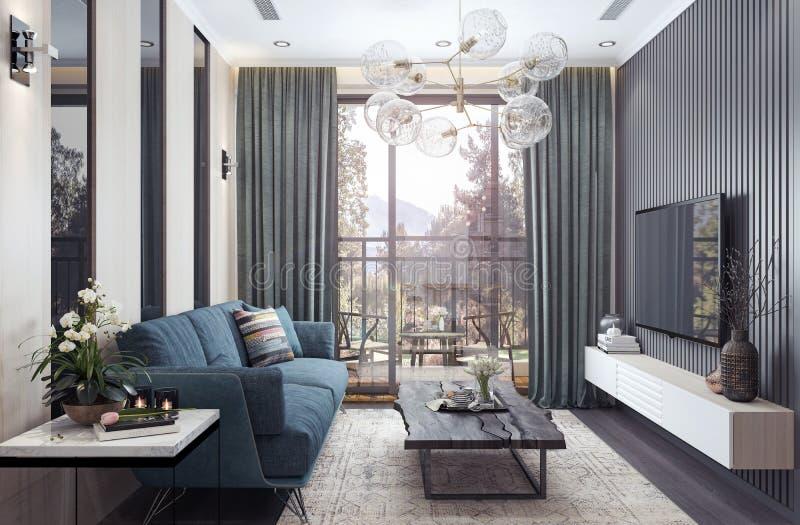 Современный дизайн интерьера, живущая комната стоковая фотография rf