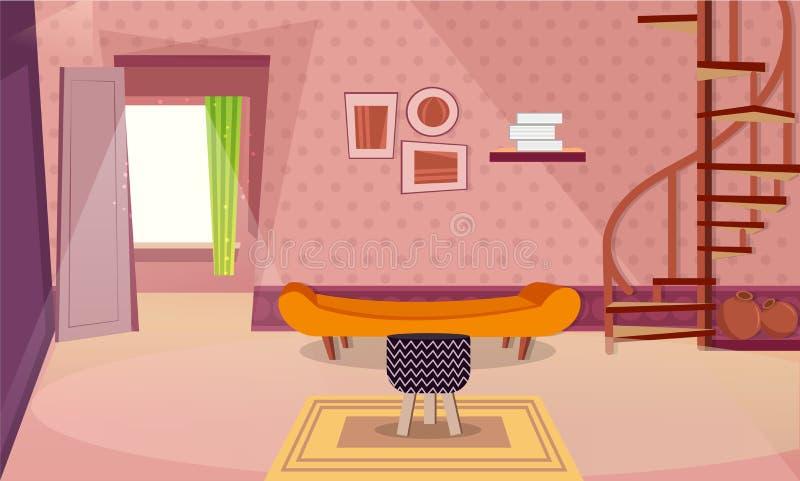 Современный дизайн интерьера комнаты с винтовой лестницей бесплатная иллюстрация