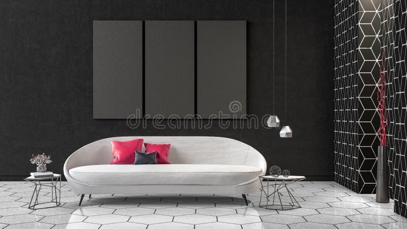 Современный дизайн интерьера концепции черно-белой живущей комнаты, 3d представляет иллюстрация вектора