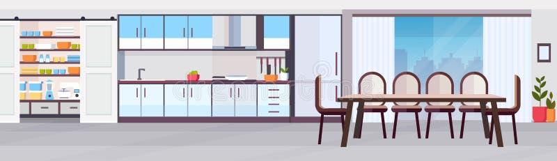 Современный дизайн интерьера кухни с панорамным видом столовой не опорожняет никакую квартиру знамени людей горизонтальную иллюстрация вектора