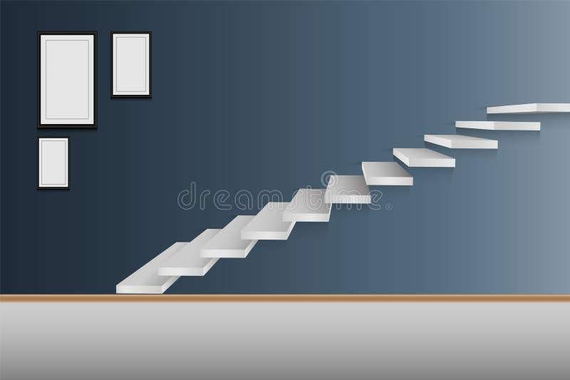 Современный дизайн интерьера лестницы, вектор, иллюстрация бесплатная иллюстрация