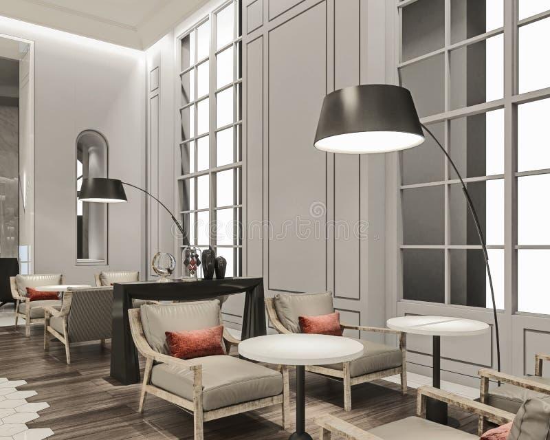 Современный дизайн интерьера лобби гостиной гостиницы, удобных кресел перед большими окнами с деревянным полом совмещенным с стоковые изображения rf