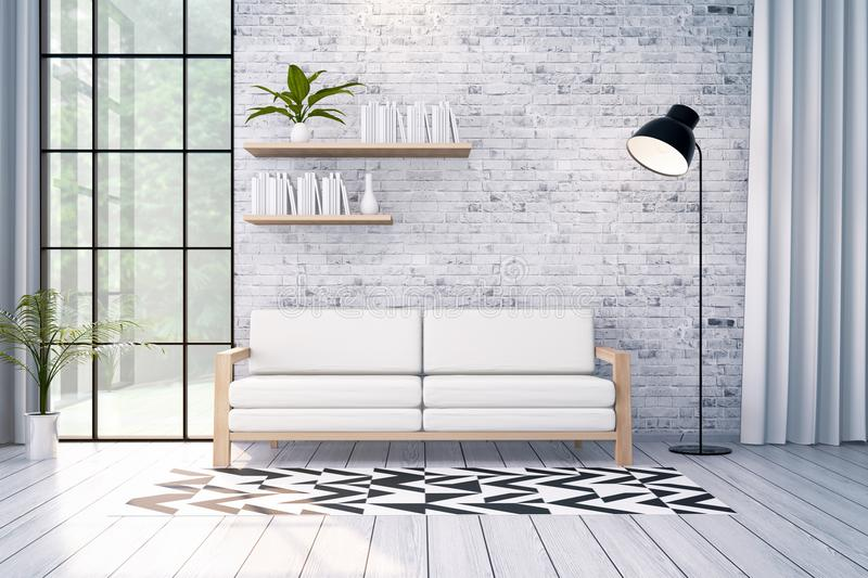 Современный дизайн интерьера просторной квартиры, белая софа и черная лампа на кирпичной стене, 3d представляют бесплатная иллюстрация