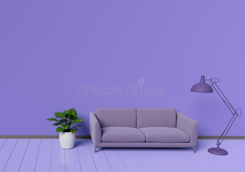 Современный дизайн интерьера пурпурной живущей комнаты с софой бак завода на белом лоснистом деревянном поле Элемент лампы Домашн стоковые изображения