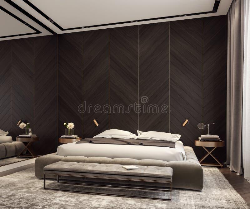 Современный дизайн интерьера спальни стоковые фото