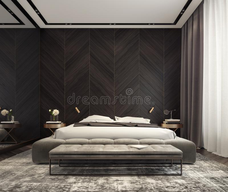 Современный дизайн интерьера спальни стоковые изображения rf