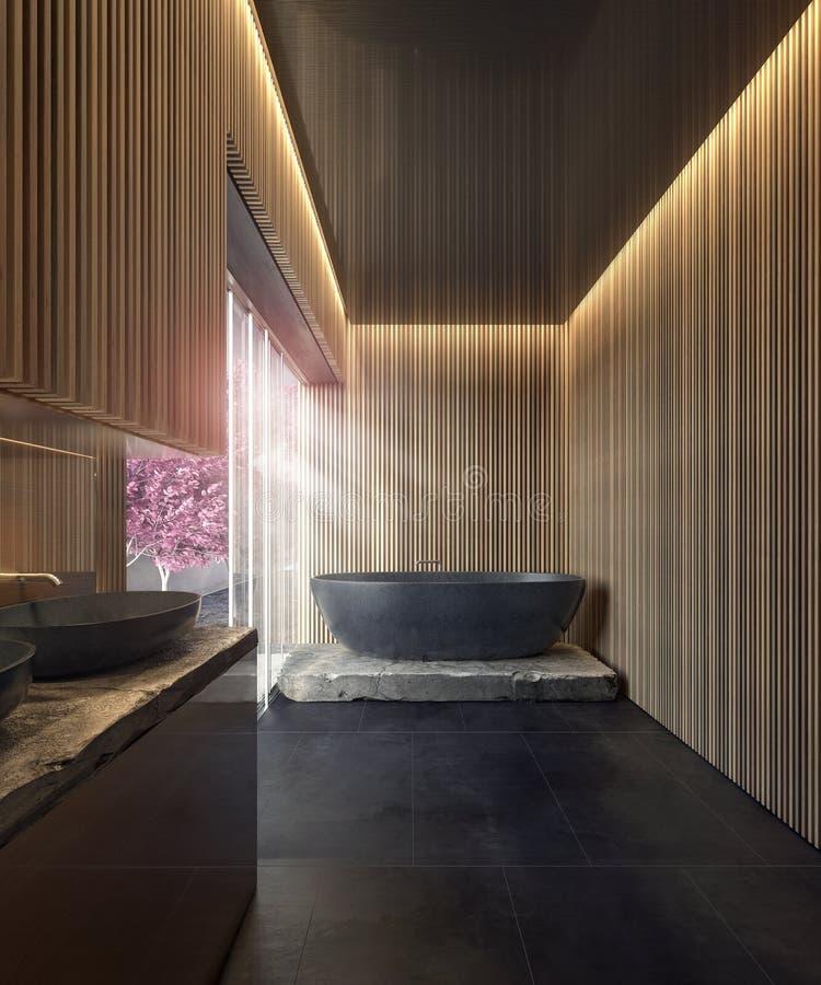 Современный дизайн интерьера bathroom с черной мраморной ванной и деревянными панелями стены иллюстрация вектора