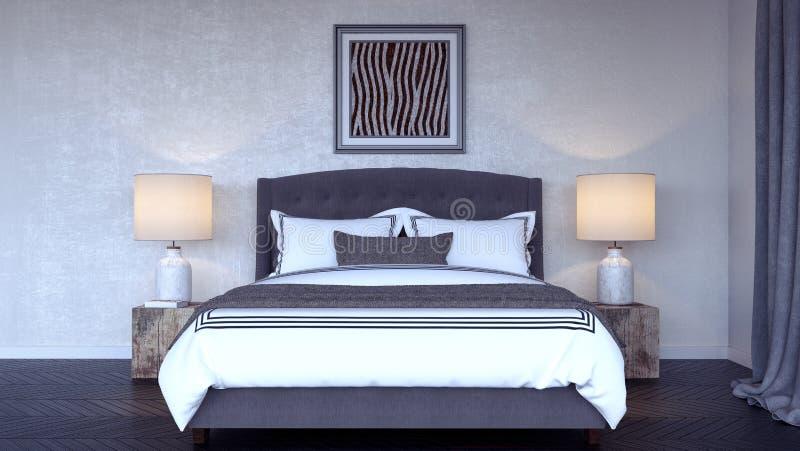 Современный дизайн интерьера 3d спальни представляет иллюстрация вектора