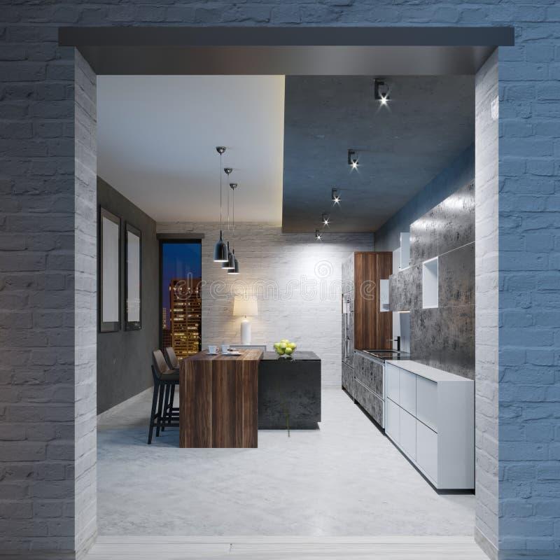 Современный дизайн кухни с длинной разбивочной таблицей приспособленной с черным мраморным countertop, оборудованием острова и ба иллюстрация штока