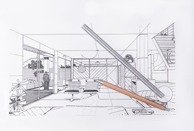 Современный дизайн офиса, чертеж архитектора стоковые фото