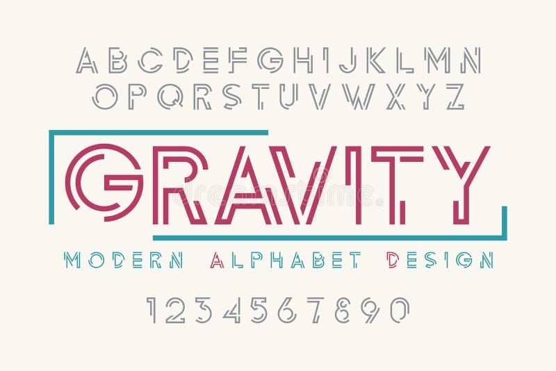 Современный дизайн плакатного шрифта, алфавит, набор символов, оформление иллюстрация штока