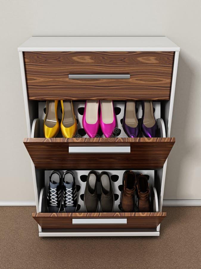 Современный дизайн шкафа ботинка иллюстрация 3d иллюстрация вектора