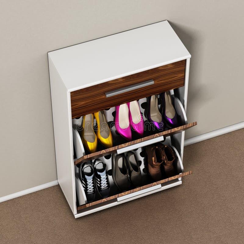 Современный дизайн шкафа ботинка иллюстрация 3d иллюстрация штока