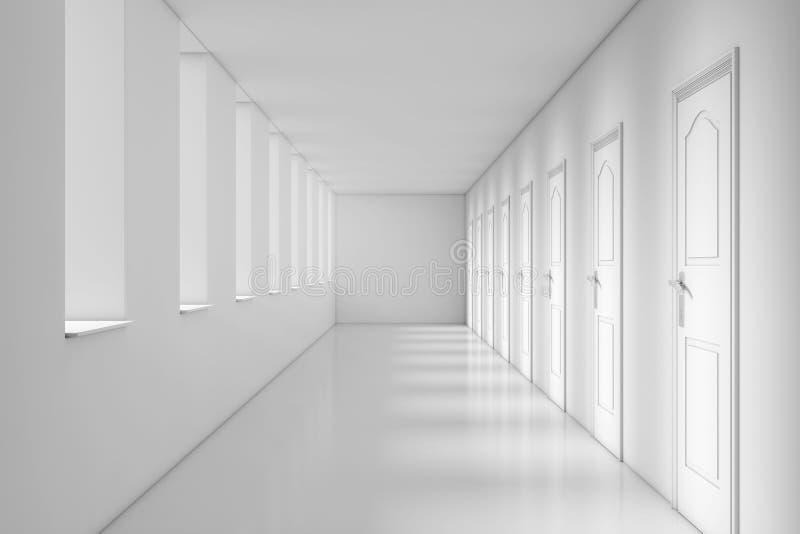 Современный длинный коридор офиса, школы, гостиницы или больницы rende 3D бесплатная иллюстрация