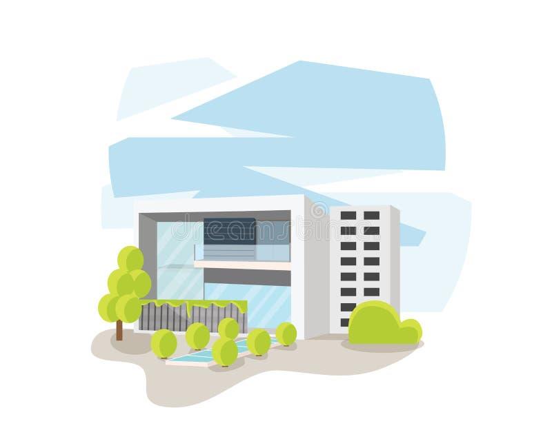 Современный современный дом в иллюстрации взгляда перспективы бесплатная иллюстрация