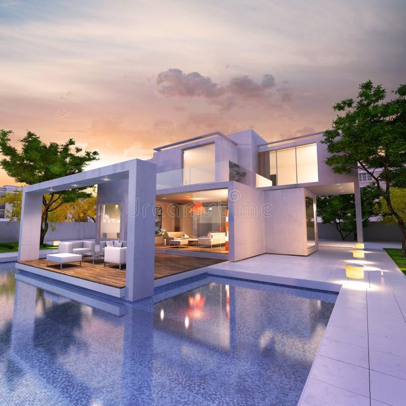 Современный дом мечты иллюстрация вектора