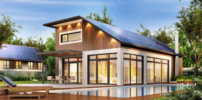 Современный дом с панелями солнечных батарей на крыше иллюстрация вектора