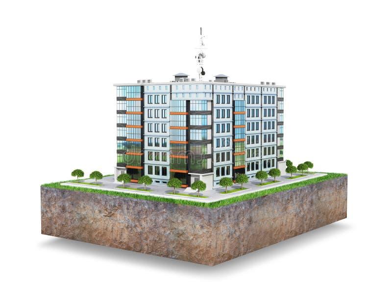 Современный европейский жилой комплекс на участке земли белизна изолированная предпосылкой иллюстрация вектора
