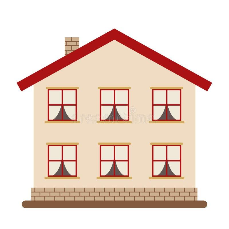 Современный 2-легендарный дом для счастливой большой семьи иллюстрация штока