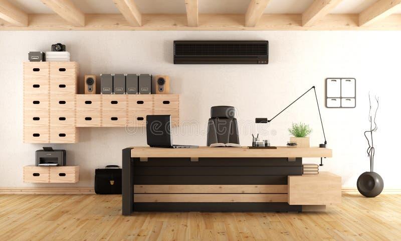 Современный деревянный офис бесплатная иллюстрация
