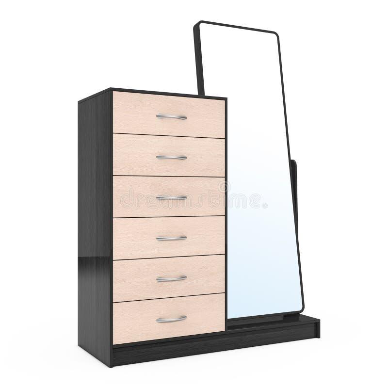 Современный деревянный дрессер с зеркалом перевод 3d бесплатная иллюстрация