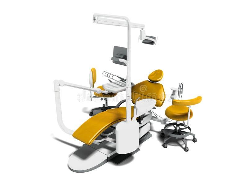 Современный желтый зубоврачебный стул с вставками белизны с монитором на tr иллюстрация вектора