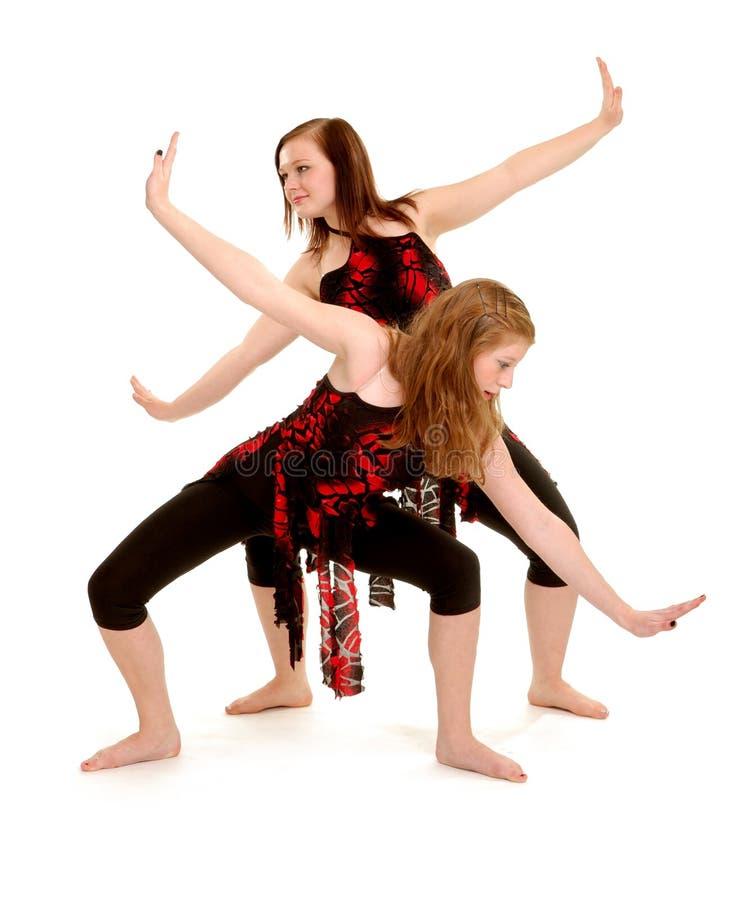 Современный женский дуэт джаза танцоров стоковые фото