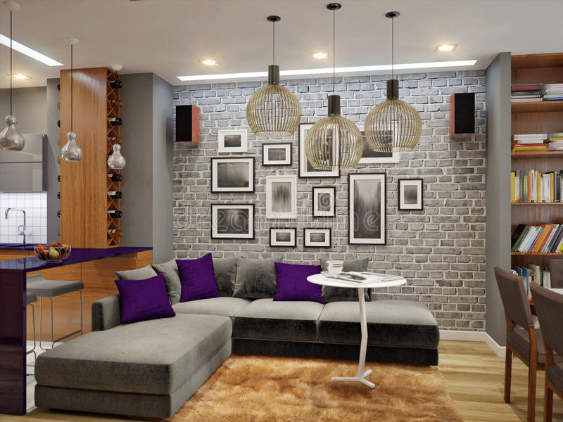 Современный живущей дизайн интерьера комнаты и кухни в серых цветах стоковые фотографии rf