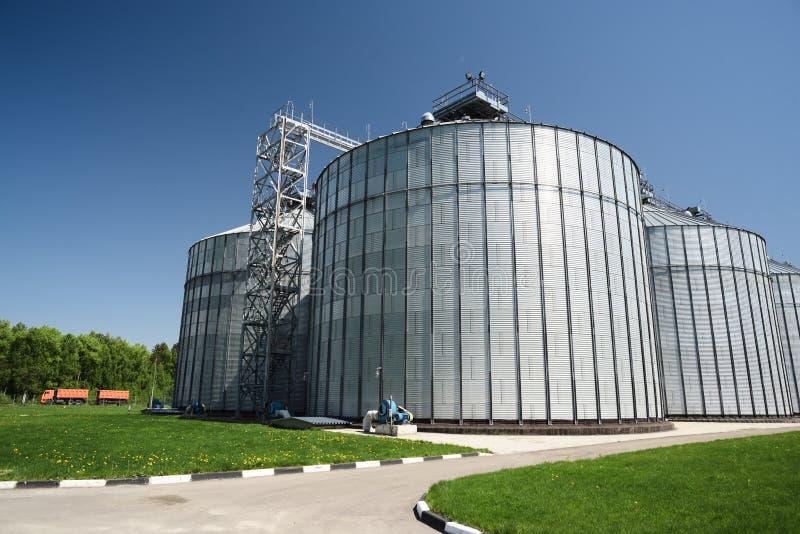 Современный завод для хранения и урожаев обработки промышленный ландшафт Большие зернохранилища в солнечном летнем дне стоковые фотографии rf