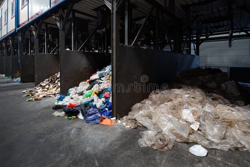 Современный завод ненужные сортировать и повторно использовать Отдельное собрание и сортировать пластиковых коробок хранилища отх стоковое фото rf