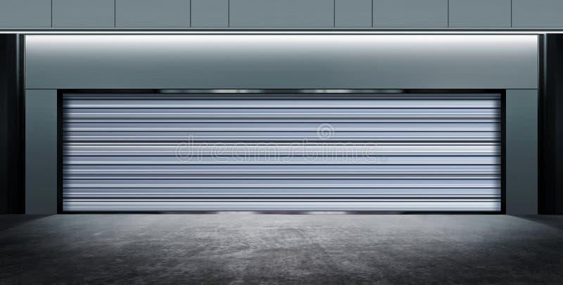 Современный закрытый гараж на ноче иллюстрация штока