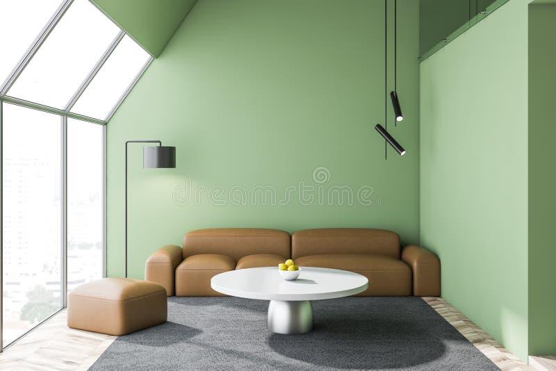 Современный зеленый интерьер дизайна живущей комнаты иллюстрация штока