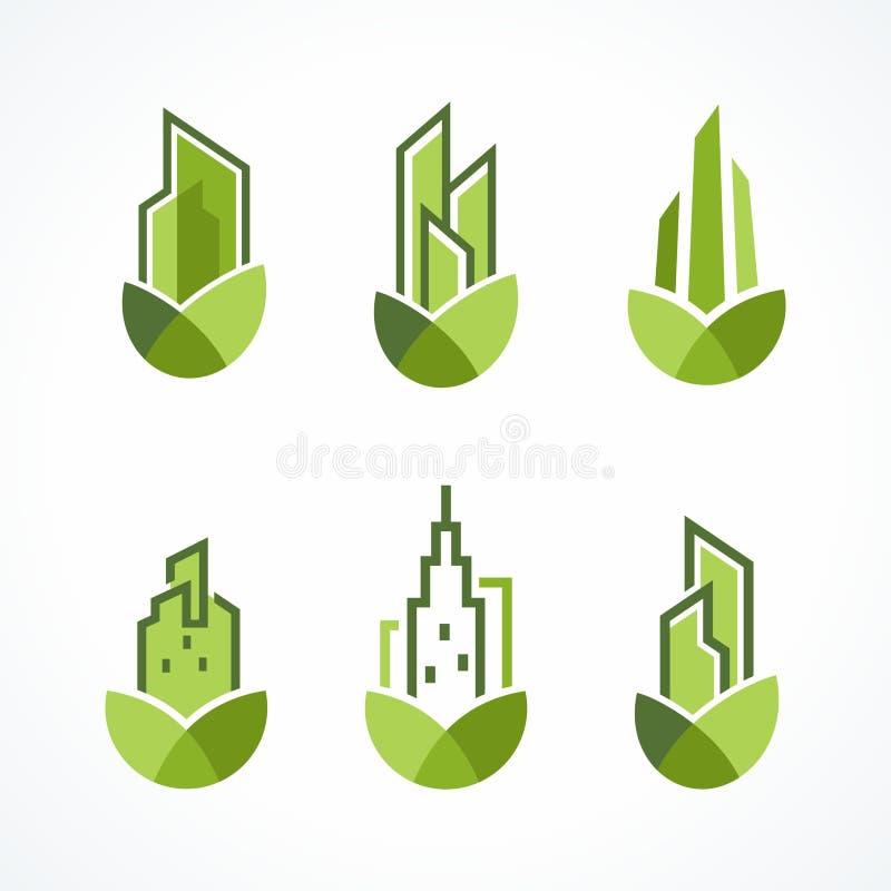 Современный зеленый комплект логотипа недвижимости иллюстрация вектора