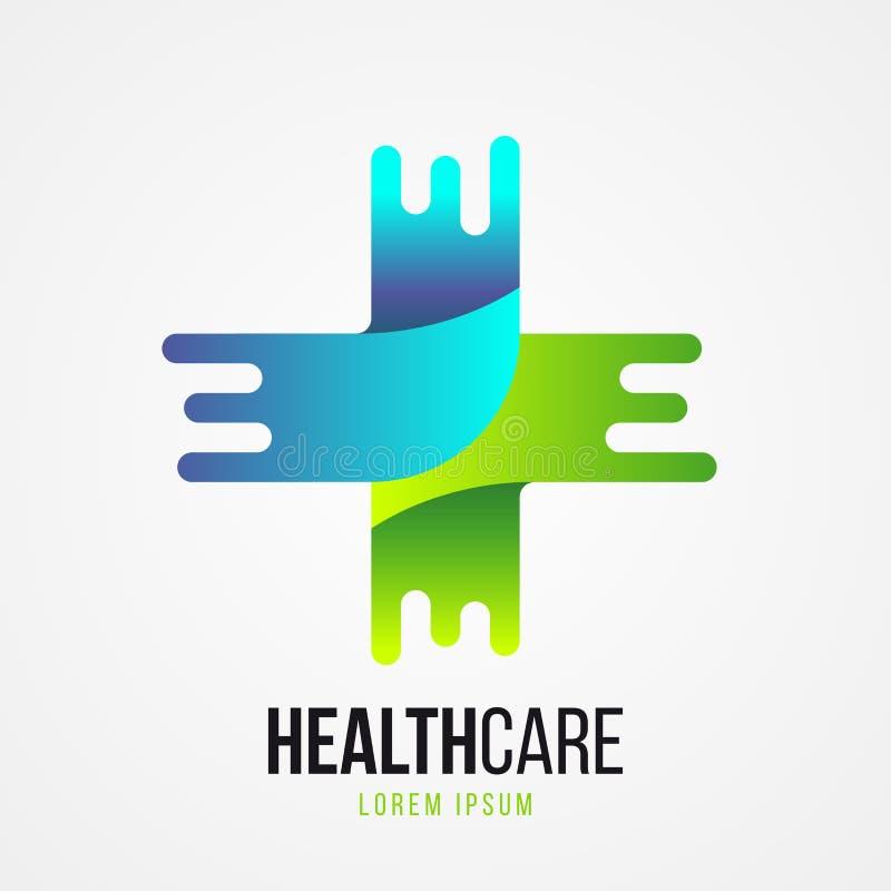 Современный зеленый медицинский перекрестный символ также вектор иллюстрации притяжки corel бесплатная иллюстрация