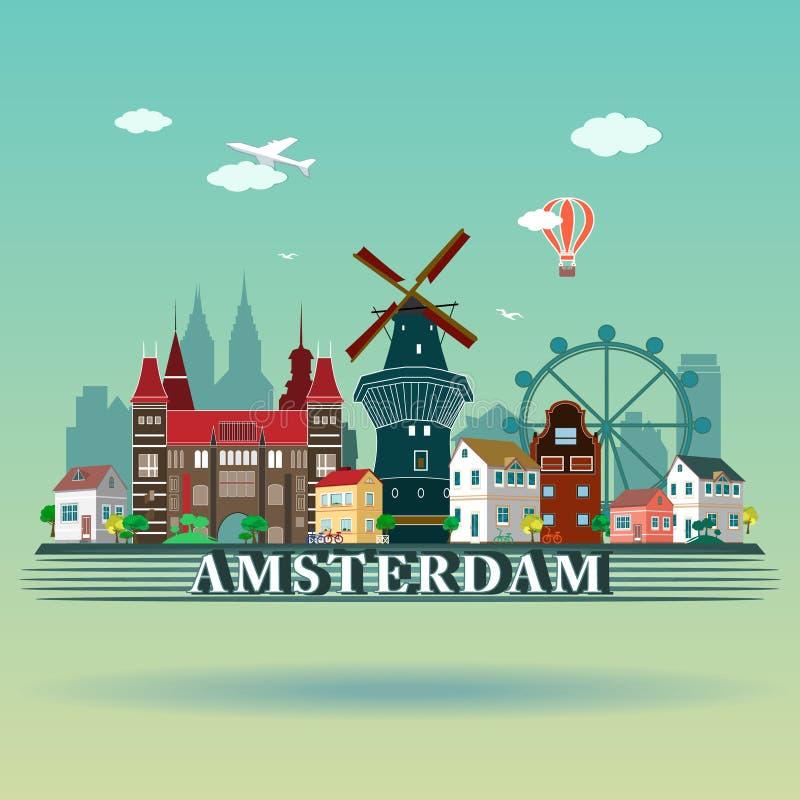 Современный дизайн горизонта города Амстердама Нидерланды иллюстрация вектора