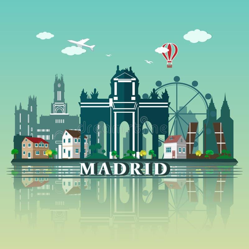 Современный дизайн горизонта города Мадрида Испания иллюстрация штока
