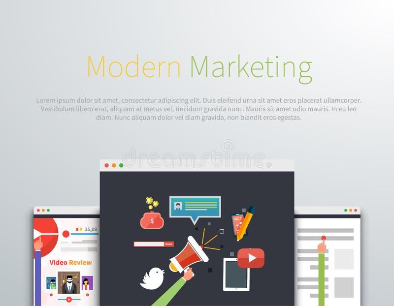 Современный дизайн интернет-страницы маркетинга иллюстрация вектора