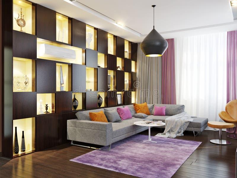 Современный дизайн интерьера гостиной иллюстрация вектора