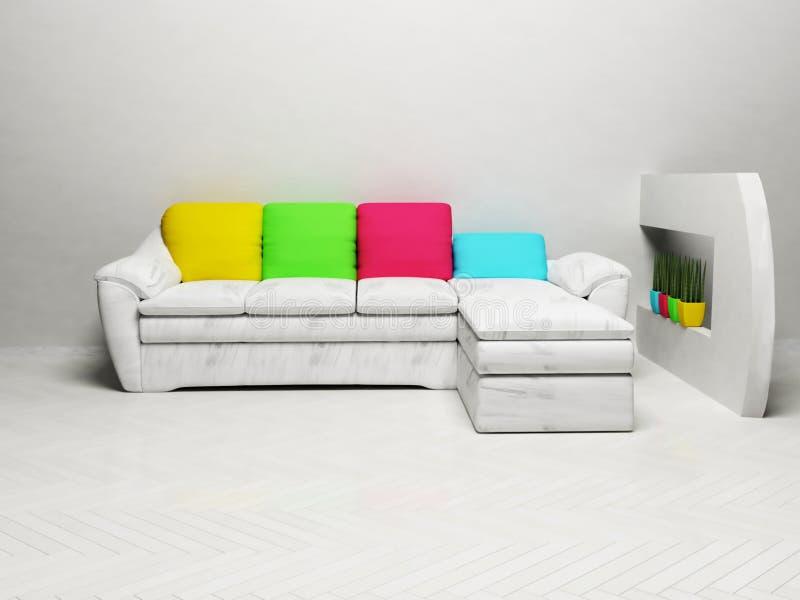 Современный дизайн интерьера живущей комнаты иллюстрация штока