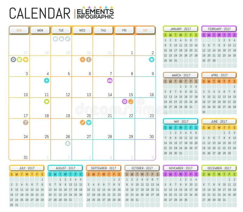 Современный дизайн 2017 шаблона календаря с местом для примечаний иллюстрация вектора
