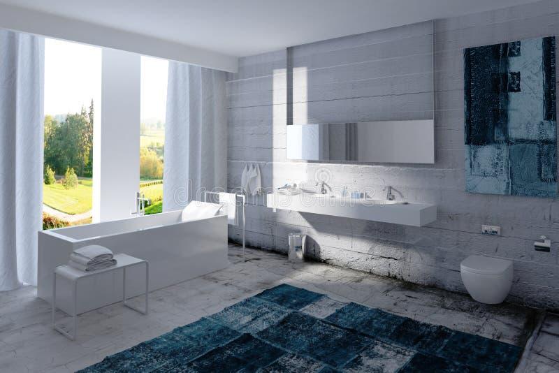 Современный интерьер ванной комнаты с бетонной стеной иллюстрация штока