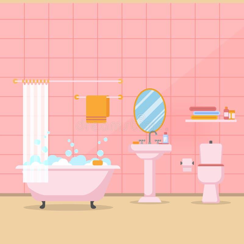 Современный интерьер ванной комнаты с мебелью в плоском векторе стиля иллюстрация вектора