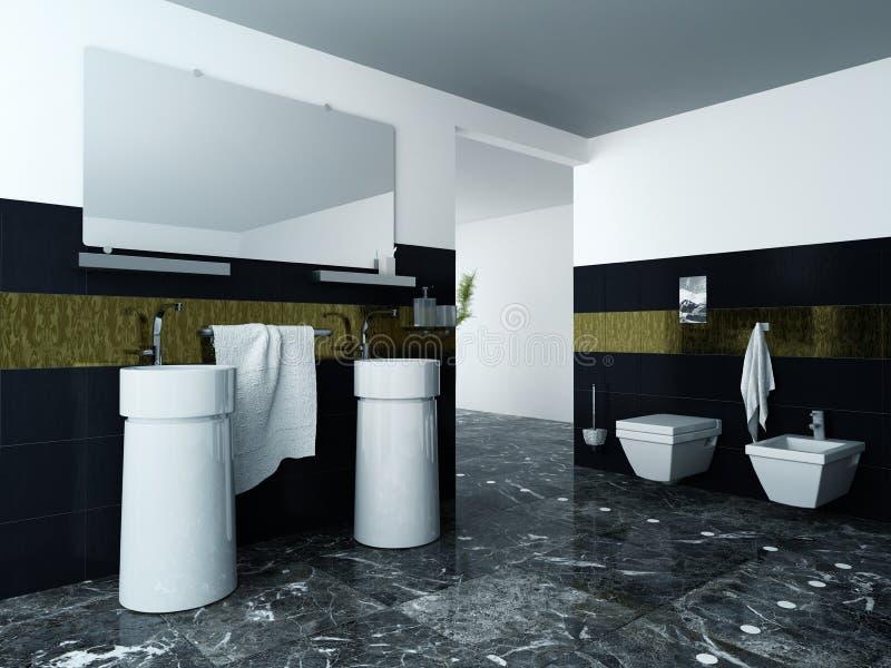 Современный интерьер ванной комнаты с тазом и плитками мытья стоковые фото