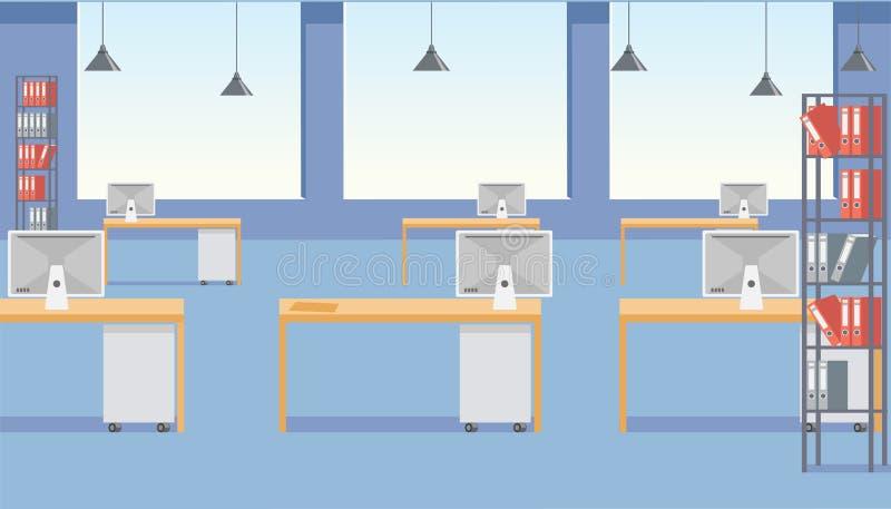 Современный интерьер вектора космоса офиса плоский иллюстрация штока