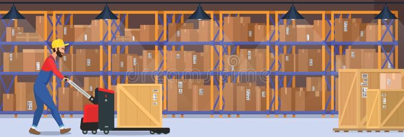 Современный интерьер вектора склада с товарами, тележки паллета и промышленный работник который dalivery нося кладет в коробку бесплатная иллюстрация