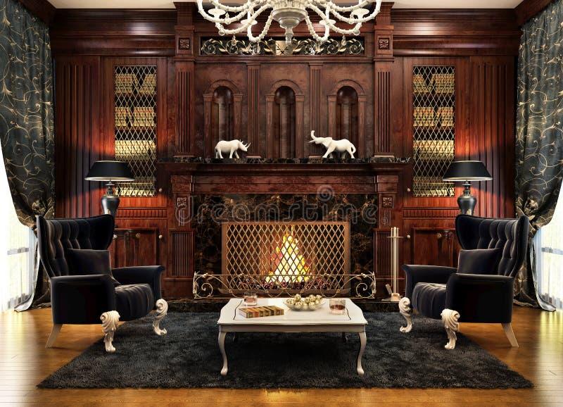 Современный интерьер дизайна комнаты камина стоковое изображение rf